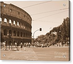 Acrylic Print featuring the photograph Colosseum In Sepia by Laurel Best