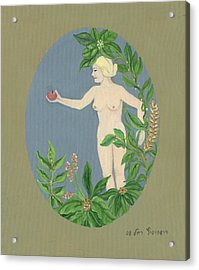 Come And Get It Eva Offers A Red Apple  To Adam In Green Vegetation Leaves Plants And Flowers Blond  Acrylic Print by Rachel Hershkovitz