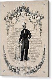 Commemorative Print Of Abraham Lincoln Acrylic Print by Everett