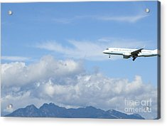Commercial Airliner Coming In For A Landing Acrylic Print by Marlene Ford