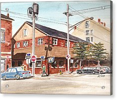 Commercial Street Pub Acrylic Print by Andrea Timm