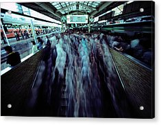 Commuters Crowd A Subway Platform Acrylic Print by Paul Chesley