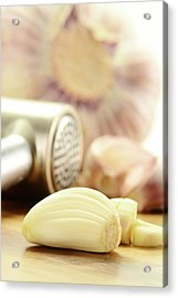 Composition With Fresh Garlic On Breadboard Acrylic Print by T Monticello