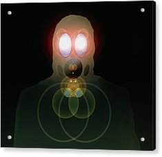 Computer Artwork Of A Figure Wearing A Gas Mask Acrylic Print by Laguna Design