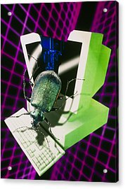 Computer Artwork Representing The Millennium Bug Acrylic Print by Victor Habbick Visions