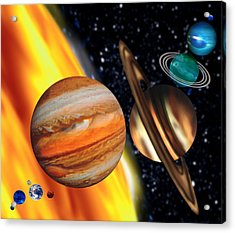 Computer Artwork Showing Relative Sizes Of Planets Acrylic Print by Victor Habbick Visions