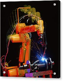 Computer-controlled Electric Arc-welding Robot Acrylic Print by David Parker, 600 Group Fanuc