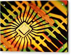 Computer Microchip Acrylic Print by Pasieka