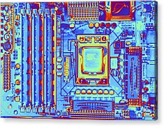 Computer Motherboard With Core I7 Cpu Acrylic Print by Pasieka