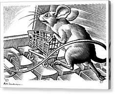 Computer Shopping, Conceptual Artwork Acrylic Print by Bill Sanderson