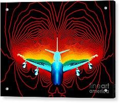 Computer Simulation Of Airplane Flight Acrylic Print by Nasa