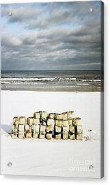 Concrete Bricks On A Snowy Beach Acrylic Print by Agnieszka Kubica