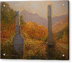 Concrete Tombstones Acrylic Print by Terry Perham