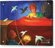 Acrylic Print featuring the painting Conditional Love by Clotilde Espinosa