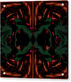 Conjoint - Copper And Green Acrylic Print by Christopher Gaston