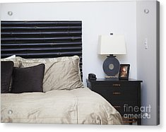 Contemporary Bed And Nightstand Acrylic Print by Inti St. Clair