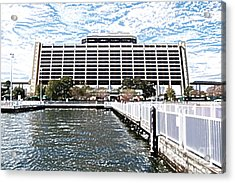 Contemporary Resort Profile Walt Disney World Prints Colored Pencil Acrylic Print by Shawn O'Brien