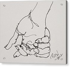 Acrylic Print featuring the drawing Contour Hand Study 01 by Rand Swift