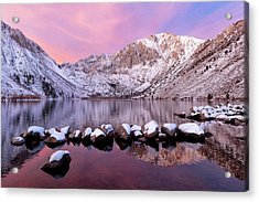 Convict Lake Sunrise With Fresh Snow Acrylic Print by Justin Reznick Photography