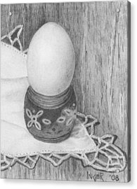 Cooked Egg With Napkin Acrylic Print by Inger Hutton