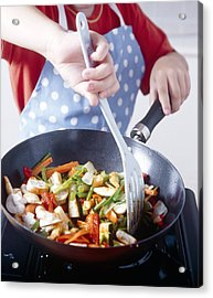 Cooking A Stir Fry Acrylic Print by Veronique Leplat