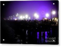 Cool Night At Santa Monica Pier Acrylic Print