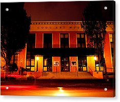 Coos Art Museum At Night In Coos Bay Acrylic Print by Gary Rifkin
