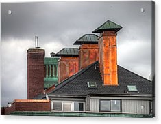 Copper-lined Chimneys On A Grey Sky Acrylic Print by Matthew Green