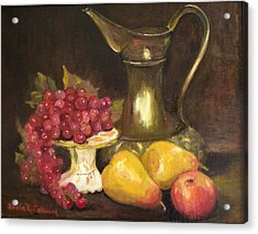 Copper Pitcher With Fruit Acrylic Print by Aurelia Nieves-Callwood