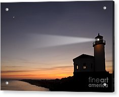 Coquille River Lighthouse Acrylic Print by John Shaw and Photo Researchers
