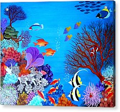 Acrylic Print featuring the painting Coral Garden by Fram Cama