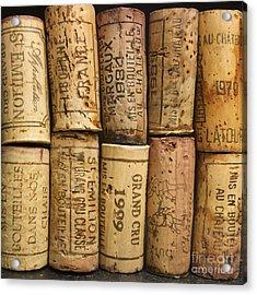 Corks Of Fench Vine Of Bordeaux Acrylic Print by Bernard Jaubert