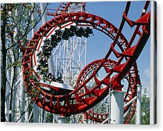 Corkscrew Coil On A Rollercoaster Ride Acrylic Print by Kaj R. Svensson