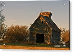 Acrylic Print featuring the photograph Corn Crib At Sunset by Edward Peterson