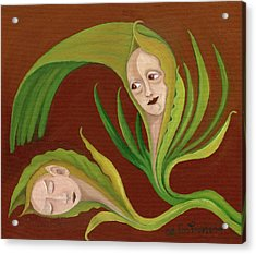 Corn Love Fantastic Realism Faces In Green Corn Leaves Sleeping Or Dead Loving Or Mourning Gree Acrylic Print