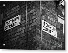 Corner Of Mathew Street And Temple Court In Liverpool City Centre Birthplace Of The Beatles  Acrylic Print by Joe Fox