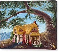 Cottage Under A Branch From Arboregal Acrylic Print by Dumitru Sandru