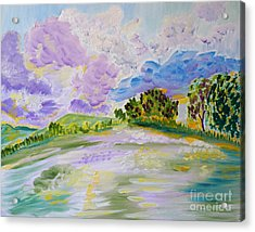 Acrylic Print featuring the painting Cotton Candy Clouds by Meryl Goudey