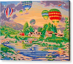 Country Balloon Ride Acrylic Print by Amy Bradley