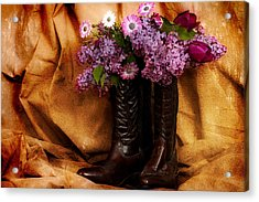 Country Boots And Flowers Acrylic Print by Trudy Wilkerson