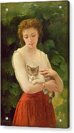 Country Girl And Her Kitten Acrylic Print