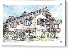Acrylic Print featuring the drawing Country Home by Andrew Drozdowicz