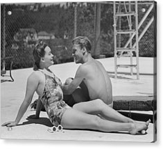 Couple At Poolside Acrylic Print by George Marks