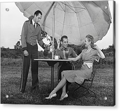 Couple Being Served By Waiter Acrylic Print by George Marks