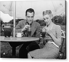 Couple Having Ice Tea Outdoors, (b&w), Portrait Acrylic Print by George Marks