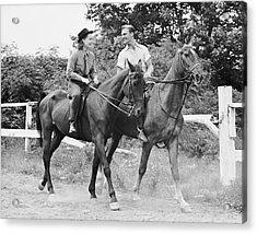 Couple Horseback Riding Acrylic Print by George Marks