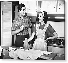 Couple Ironing Acrylic Print by George Marks