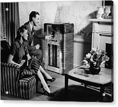 Couple Listening To Radio In Living Room, (b&w) Acrylic Print by George Marks
