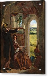 Couple Observing A Landscape Acrylic Print by English School
