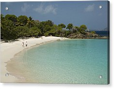 Couple On Beach In Caneel Bay Resort, Turtle Bay Acrylic Print by Margie Politzer